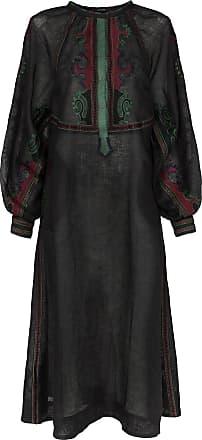 Vita Kin Vestido Parajanov de linho com bordado - Preto