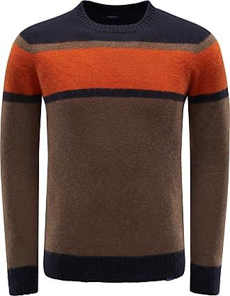04651/ R-Neck Pullover braun/orange gestreift bei BRAUN Hamburg