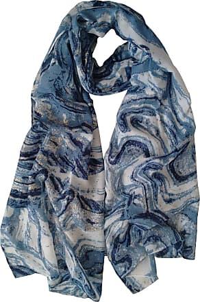 GlamLondon Gold Marble Pattern Scarf Large Size Fashionable Marbled Printed Women Multi Purpose Wrap (Blue)