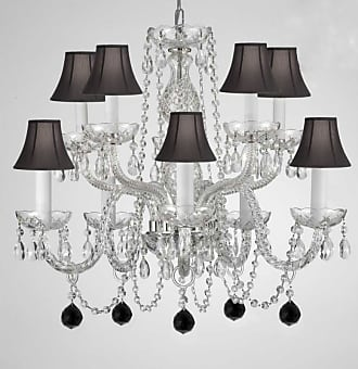 Gallery T22-2789 10 Light 24 Wide Chandelier with Black Fabric Shades