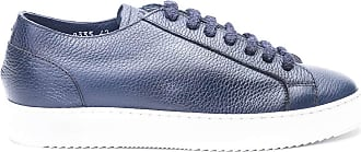 Doucal's Hammered Leather Blue Sneakers, 42
