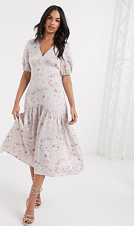 Vila floral tea dress with deep v neck-Pink