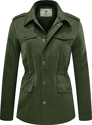 WenVen Womens Lapel Summer Jackets with Drawstring Army Green Large