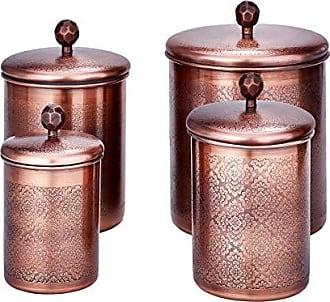 Old Dutch International 1867AC 4 Pc. Antique Copper Floral, 4, 3, 2, Qt Canister Set, 11.5Qt