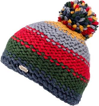 KuSan 100% Wool Moss Yarn Bobble Hat PK1834 (Red/Green)