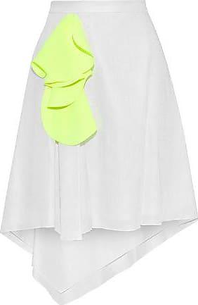fad704d85a Delpozo Delpozo Woman Asymmetric Neon-appliquéd Gauze Skirt Light Gray Size  38