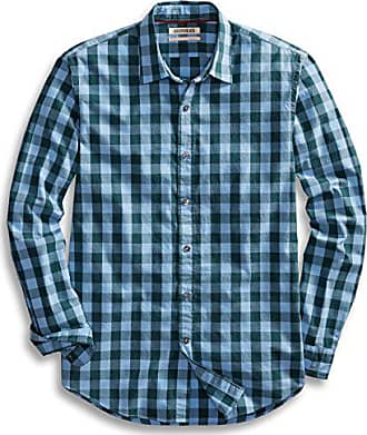 Goodthreads Mens Standard-Fit Long-Sleeve Gingham Plaid Poplin Shirt, Blue/Green, Medium