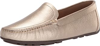 Driver Club USA Womens Leather Made in Brazil Driving Loafer with Venetian Detail, Gold Grainy/Natural Sole, 4.5 UK