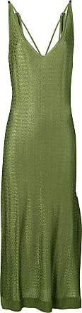 Esteban Cortazar Vestido de seda com amarração nas alças - Verde