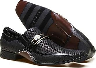 Calvest Sapato Social Masculino Calvest em Couro Snake Preto com Metal Dourado - 1930C229-36