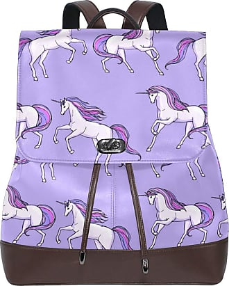 Ahomy Ladies Fashion PU Leather Backpack Unicorn Horse Running Purple Anti-Theft Rucksack Shoulder Bag