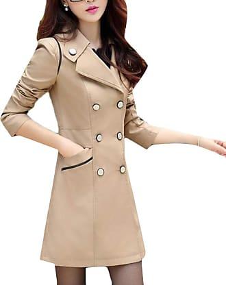 H&E Womens Overcoat Fashion Double-Breasted Slim Mid-Long Trench Coats Khaki XXS