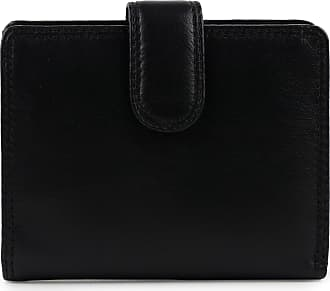Visconti Ladies Leather Compact Tab Purse/Wallet Heritage Collection Gift Box Handy (Black)