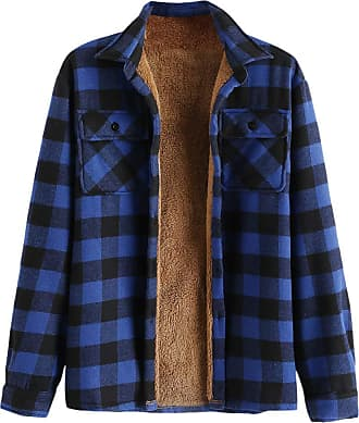 Zaful Casual Plaid Fleece Jacket Unisex Mens Drawstring Hooded Coat Fuzzy Hoodie - Blue - L