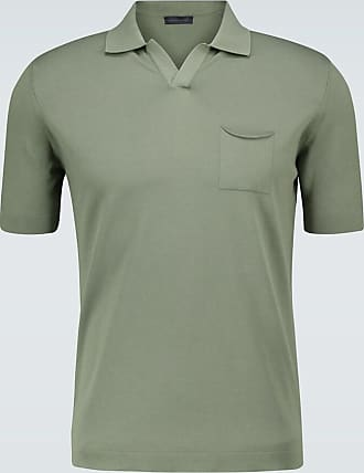 Thom Sweeney Knitted polo shirt with open collar