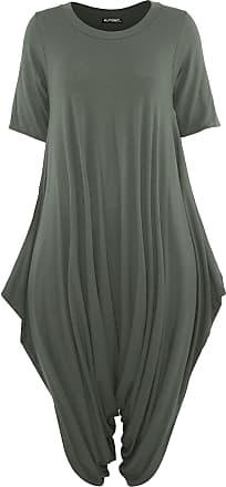 Be Jealous Womens 3/4 Sleeve Baggy Italian Harem Jumpsuit Green Plus Size (UK 24/26)