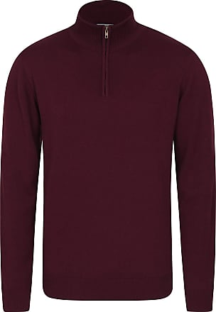 Mountain Warehouse Mens 1/4 Zip Chunky Knit Jumper - Long Sleeve Sweater, Half Zip Top, Lightweight, Warm & Cosy Pullover - for Walking, Travelling Burgundy 3XL