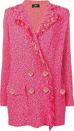 Elisabetta Franchi double breasted frayed blazer - Rosa