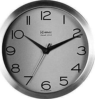 Uhren Herweg RELÓGIO DE PAREDE ANALÓGICO MODERNO 25CM DE DIÂMETRO A BATERIA 1,5V ARO EM ALUMÍNIO ESCOVADO HERWEG