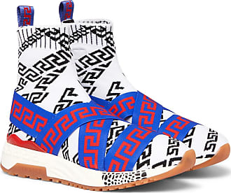 Versace Hercules Logo-jacquard Stretch-knit High-top Sneakers - Multi