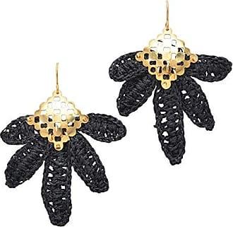 Tinna Jewelry Brinco Dourado Folha Bananeira (Preto)