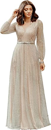Ever-pretty Womens V Neck Long Sleeve A Line Empire Waist Tulle with Glitter Mother of The Bride Dresses Beige 14UK