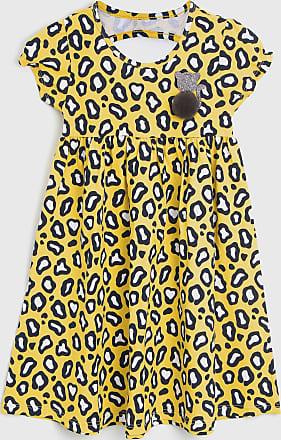 KYLY Vestido Kyly Infantil Onça Amarelo