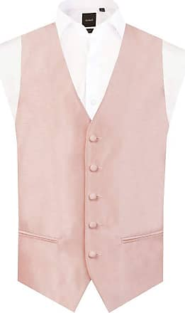 Dobell Mens Light Pink Waistcoat Regular Fit Dupion 5 Button-XL (46-48in)