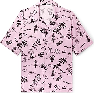 McQ by Alexander McQueen Camp-collar Printed Voile Shirt - Pink