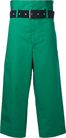 Plan C cropped belted trousers - Verde