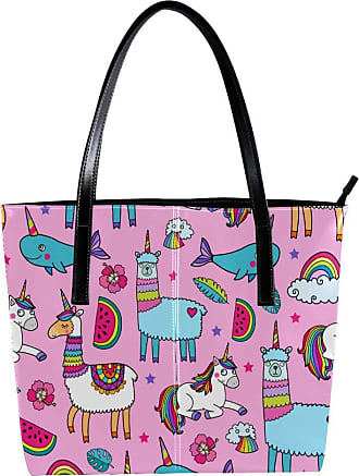 Nananma Womens Bag Shoulder Tote handbag with Cute Unicorn Llamas Pattern Zipper Purse PU Leather Top-handle Zip Bags