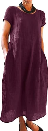 Yidarton Womens Maxi Dresses Summer Casual Beach Solid Color Loose Crew Neck Short Sleeve Long Dress with Pockets (3X-Large, Z-Burgundy)