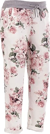 Crazy Girls Womens Plain Italian Floral Trousers, Pink Floral, ML (UK 12-14)
