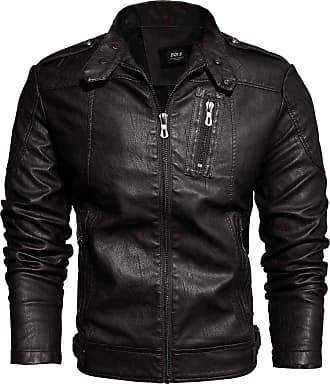 JERFER Men Casual Solid Color Stand Jacket Zipper Long Sleeve Coats Outwear Blouses Coffee