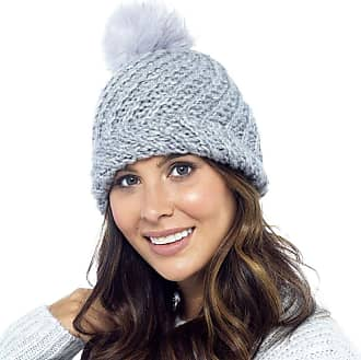 Foxbury Ladies Knitted Bobble Hat with Faux Fur Bobble Grey