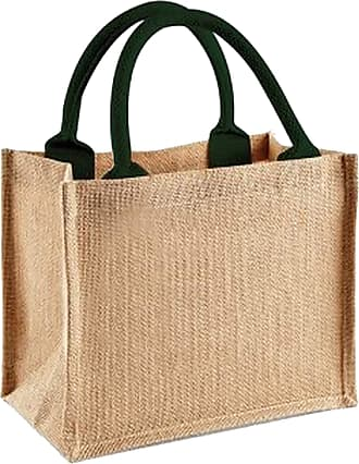 Westford Mill Jute Mini Gift Bag (6 Litres) (One Size) (Natural/Forest Green)
