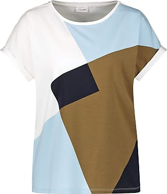 Gerry Weber Womens 370316 T-Shirt, Ecr/Blue/Khaki Print, 10