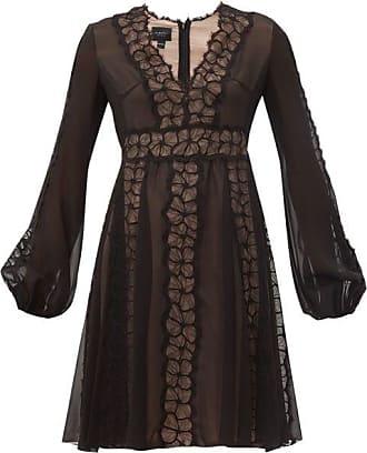 Giambattista Valli Floral Lace-trim Silk-georgette Dress - Womens - Black