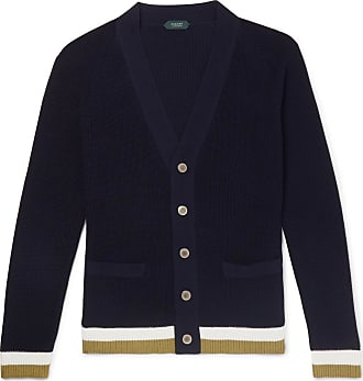 Incotex Slim-fit Contrast-tipped Cotton Cardigan - Navy
