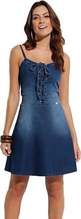 Quintess Vestido Jeans Quintess de Alcinha com Amarração Azul escuro (XLG)