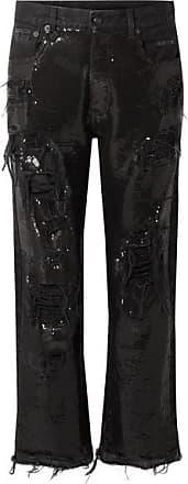 R13 Distressed Sequin-embellished Mid-rise Jeans - Black