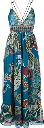 Red Valentino Vestido gola V com estampa - Azul