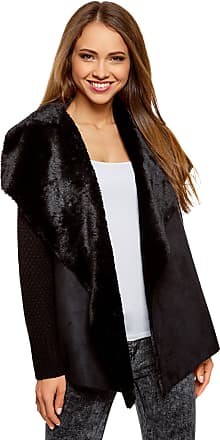 oodji Collection Womens Knit Jacket with Faux Fur Flaps, Black, UK 16 / EU 46 / XXL