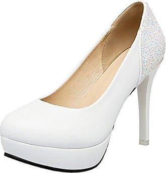 cf48a611fb3332 Zanpa Damen Moda Plateau Pumps Sexy Stiletto Hohe Schuhe Glitter White Gr 33