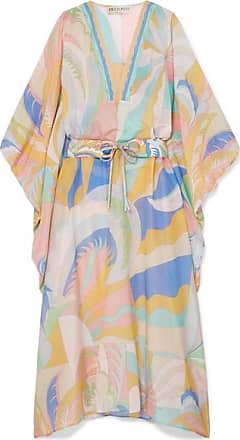 Emilio Pucci Printed Cotton And Silk-blend Voile Kaftan - Pastel yellow