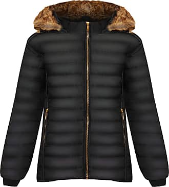 Top Fashion18 Ladies Plus Faux Fur Collar Hood Puffer Jacket Ladies Long Sleeve Coat Zip Pocket Hood UK Size 8-28 Black