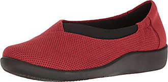 Clarks Womens Sillian Jetay Slip-On, Red Perf Textile, 9 M US