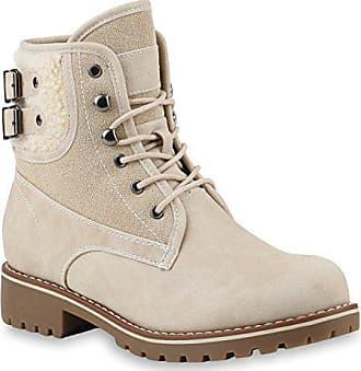 036627371d3adb Stiefelparadies Warm Gefütterte Damen Schuhe Stiefeletten Outdoor Worker  Boots Kunstfell 145472 Creme 37 Flandell