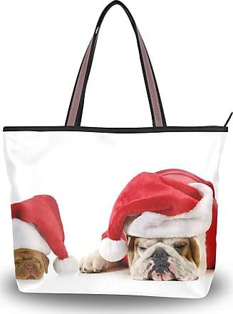 Lorona Women Christmas Sleeping Dogs Canvas Shoulder Hand Bag Large Capacity Tote Bag