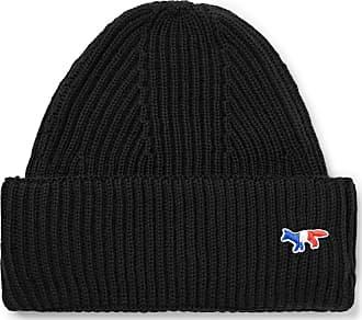 Maison Kitsuné Logo-appliquéd Ribbed Wool Beanie - Black